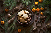 Christmas biscuits and nuts in a bowl
