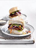 Lamb Burgers with Youghurt Dressing and Beetroot Relish