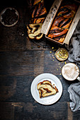 Chocolate, tahini and halva babka with cardamom syrup
