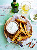 Eggplant Fritters with Garlic Yoghurt