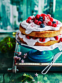 Mixed Berry and Coconut Layer Cake