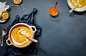 Roasted butternut and clementine soup with lemony saffron oil