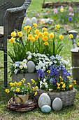 Österliches Topf-Arrangement mit Narzissen 'Rip van Winkle', Hornveilchen, Schleifenblume und Hyazinthen, Ostereier und Kranz aus Zweigen