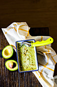 Avocado pistachio ice cream in a tray