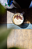 Espresso with cream in a glass cup