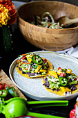 Vegan Tostadas with Mango salsa