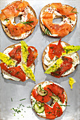Mixed Salmon Cream Cheese Bagels