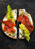 Bagel with wild salmon, salad and cream cheese