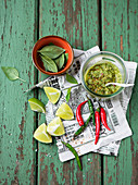 Coriander pesto with limes and chili peppers