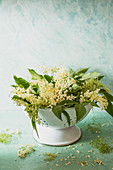 Fresh elderflowers in a colander