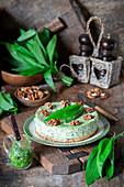 Wild garlic savory cheesecake