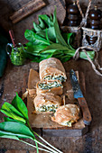 Wild garlic strudel with quark