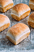 Mini white bread loaves