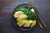 Turmeric chicken breast with spinach