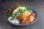 Baked potato with herb quark and smoked salmon
