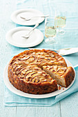 Light almond and peach cake