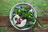 Spinach salad with blueberry dressing and burrata