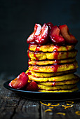 Stacked pancakes with prunes