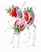 Strawberries with a milk splash
