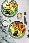 Southwest crispy chicken salad with creamy dressing