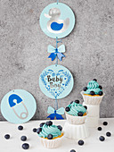 Cupcakes with cottage cheese frosting for a baby shower