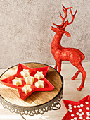 Panna cotta stars as a Christmas dessert