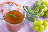 Grape jelly with fresh mint