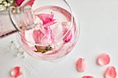 Rosen-Gin Tonic zubereiten, aromatisiertes Tonic Water eingießen