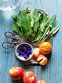 Zutaten für Smoothie (Sauerampfer, Apfel, Mandarine)