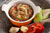 Homemade pear chutney with peppers and ginger