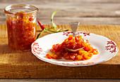 Savory mango, pomelo and chili chutney