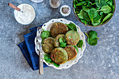 Spinach pancakes with cottage cheese syrniki from above