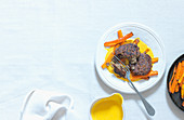Lentil burger with roasted carrots