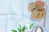 Lentil bread with cream cheese