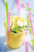 Caribbean Dream - a banana and pineapple cocktail with rum and cream of coconut