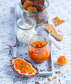 Apricot chutney and flaxseed crackers