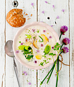 Leek and potato soup with chive blossoms