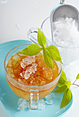 Pineapple iced tea with pineapple sage, black tea and crushed ice