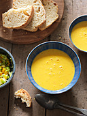 Sweetcorn and pumpkin soup with homemade white bread