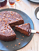 Chocolate-polenta cake, sliced