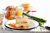 Marinated wine cheese with herbs and peppers