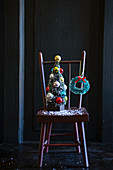 Christmas decoration on wooden chair