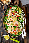 Salmon with peas and coconut sauce