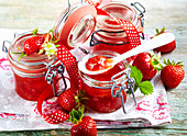 Homemade rhubarb jelly with strawberries