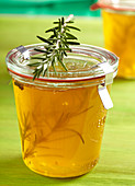 A jar of rosemary and apple jelly