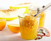 Melon and orange jam in a mason jar