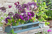 Frühsommer Sträuße aus Zierlauch, Akelei, Flockenblume und Rosen
