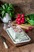 Quark terrine with herbs and radishes