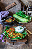 Zucchini fritters with a chive dip