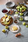 Ingredients for apple and cherry cake